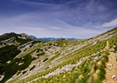 A Babin csúcs közelében a törpefenyők megritkulnak. Szélkoptatta vidékre értünk. National park Paklenica, Velebit, Croatia