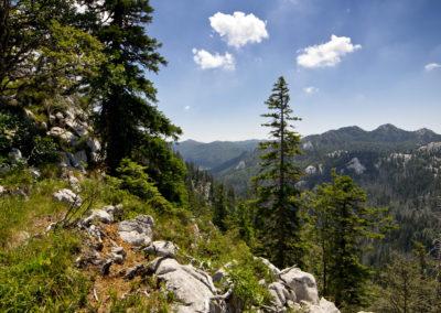 Pillantás a Golubić oldalából. Alattunk vezet a visszaút, Sjeverni Velebit National Park