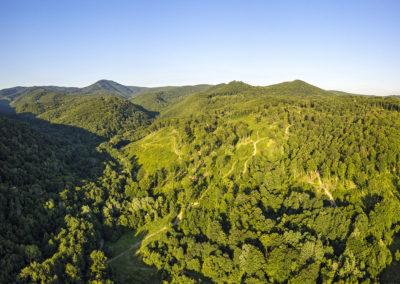 Balra kiemelkedik a Papuk csúcsa, középen a Kamengrad a hegytetőn